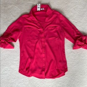 Express Portofino Button Down Blouse Hot Pink